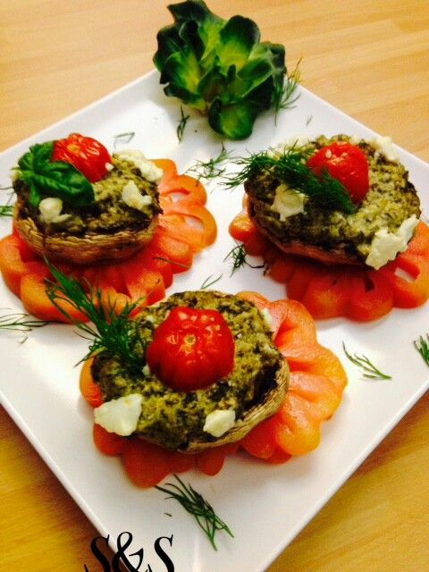 Funghi ripieni con cime di rapa e formaggio.gluten free