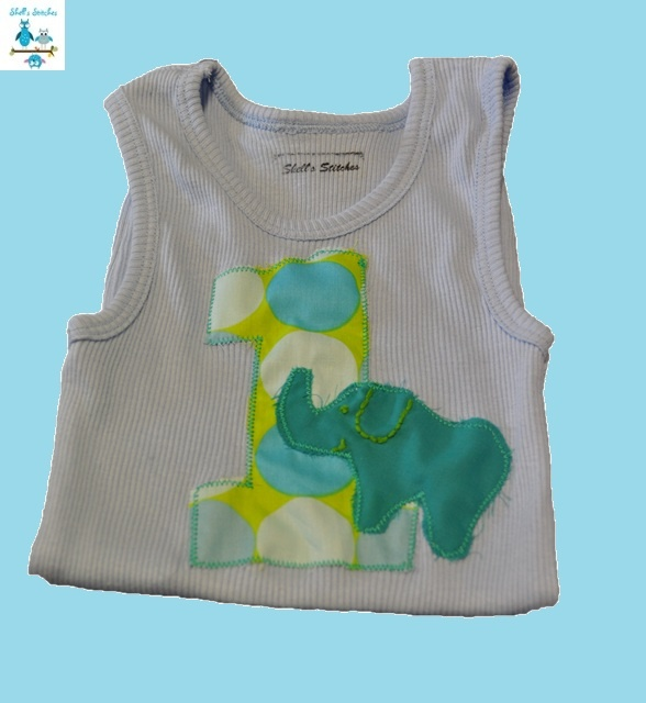 Custom Birthday Singlet. A range of funky fabrics available and singlets up to size 7. Go to www.facebook.com/shellsstitches to order