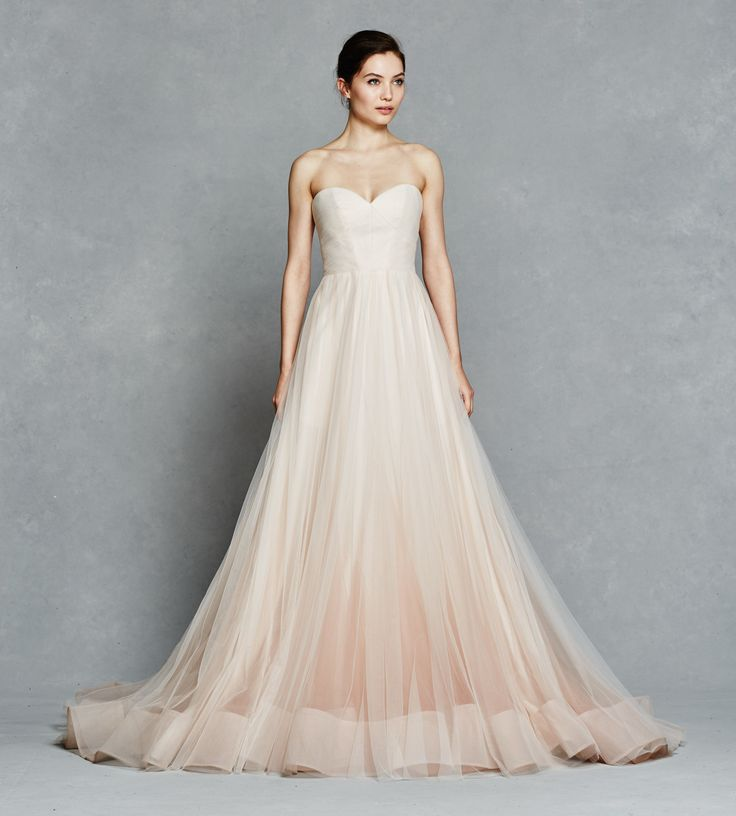 Ombre Wedding Dress: Blush Ombre Ball Gown With Tulle Micro Pleated Bodice With