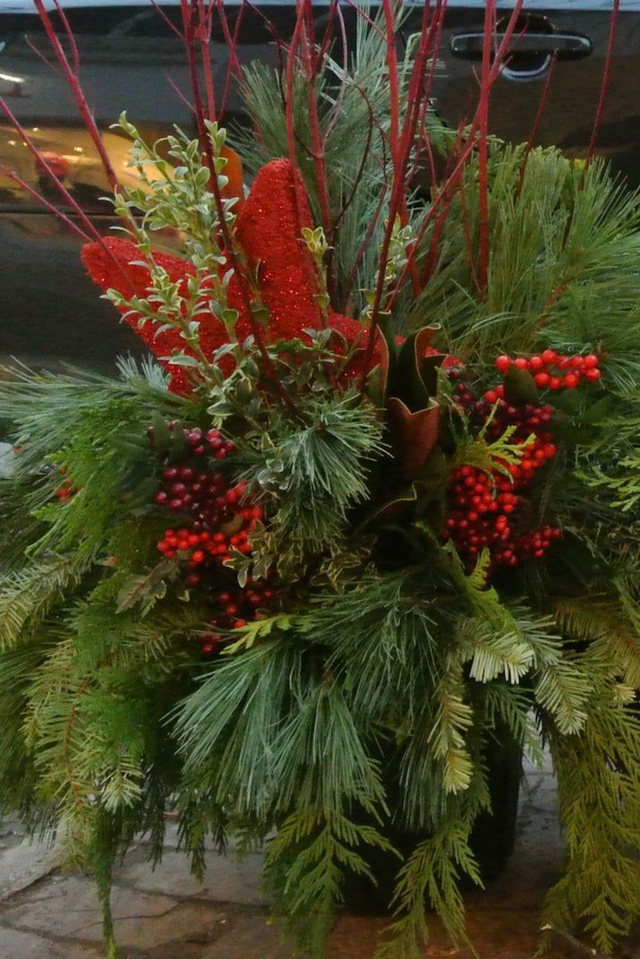Red Christmas Planter