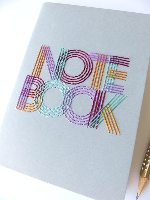 Hand embroidered notebook 4 colors typography-office travel accessory-writing-notes-paper goods-sketching-small gift-textile graphic design