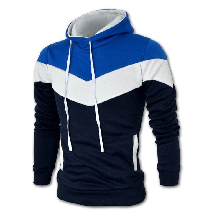 Autumn&Winter Men's Slim Mixed Colors Thicker Fleece Hooded Pullover Sweatshirt Men Coat Men Casual Jacket