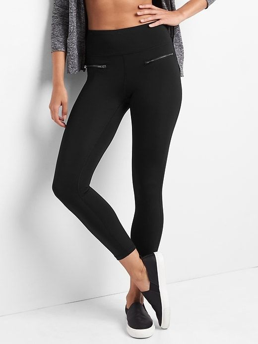 92e9d95093 Gap Womens Gfast High Rise Sculpt Compression Zip 7/8 Leggings Black ...
