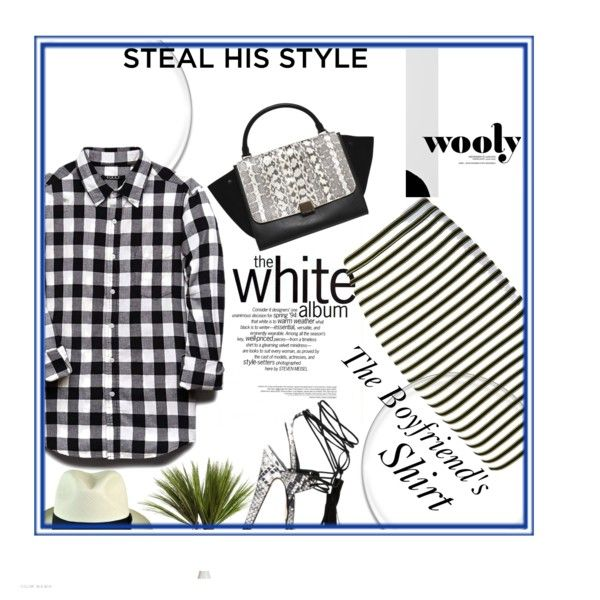 Style Your Boyfriend's Shirt Mixed Prints Outfit Idea 2017