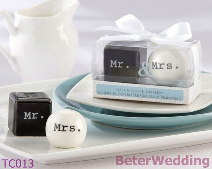 """Aliexpress.com : Buy Aliexpress wholesale """"Mr.  Mrs."""" Porcelain Salt and Pepper Shakers(14pcs, 7set)TC013 Wedding Gift, party Favor from Reliable Salt and Pepper Shakers suppliers on Shanghai Beter Gifts Co., Ltd. $14.00"""