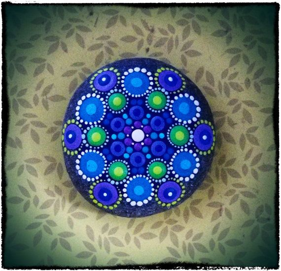 Jewel Drop Mandala Painted Stone- Lavender and Hyacinth