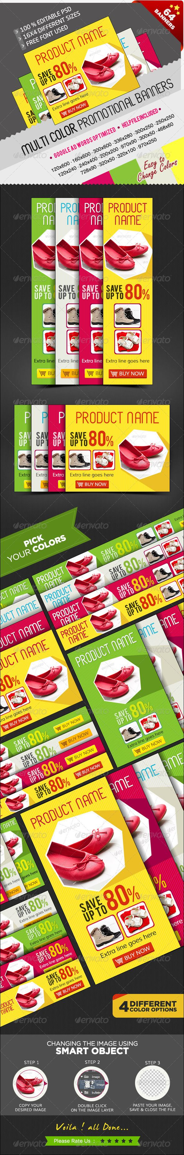 Promotional Banners in Multi Colours - 64 PSDs