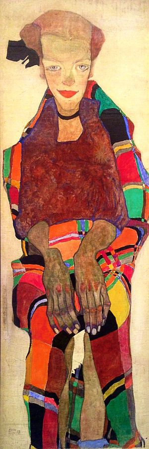 Poldi Lodzinsky, 1910. Gouache and oil on canvas. 109.5 x 36.5 cm. Collection of Dr. and Mrs. Ferdinand Eckhardt, Winnipeg.