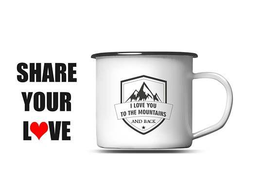 Mountain Camping Mug / Mountains Enamel Mug / Hiking Mug Cup /