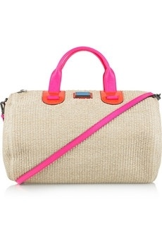 Meredith Wendell | Large leather-trimmed raffia duffle bag | NET-A-PORTER.COM - StyleSays