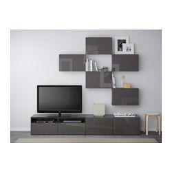 best tv storage combination hanviken walnut effect light gray ikea tv tvs and ikea. Black Bedroom Furniture Sets. Home Design Ideas