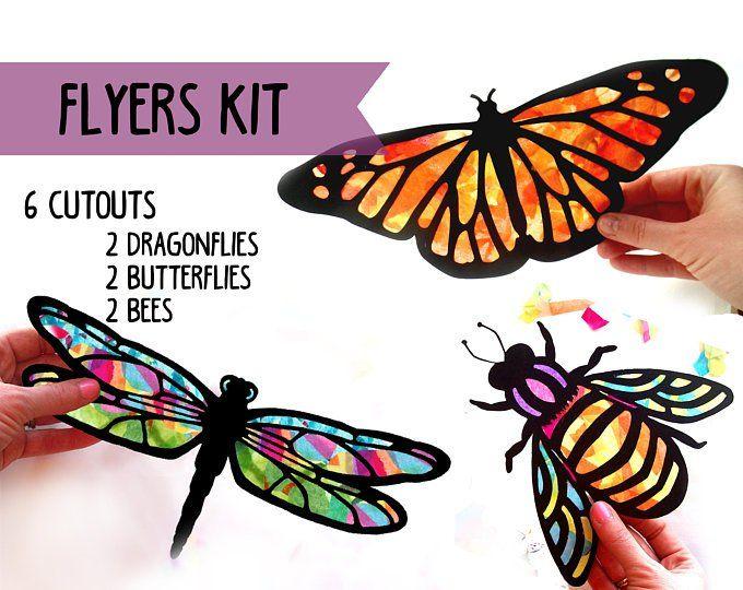 Kids Craft Insekten Glasmalerei Suncatcher Kit, mit Seidenpapier, Arts and Crafts Kids Activity, Projekt
