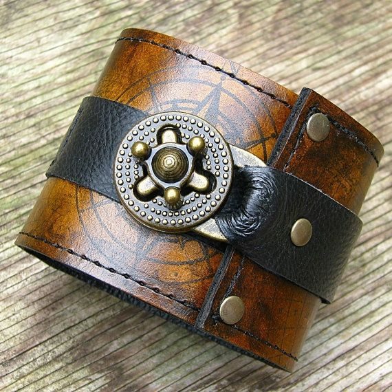 Steampunk Leather Wrist Wallet Cuff with Secret by sewlutionsbyamo, $85.00