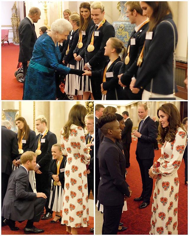 The Queen and Prince Philip are hosting a reception at Buckingham Palace tonight for Team GB Olympic and Paralympic medalists along with Prince William, Prince Harry, Duchess Catherine, Princess Anne and Prince Andrew. Above you can see Kate chatting to Olympic boxer Nicola Adams and Harry and the Queen talking with Paralympic swimmer Ellie Simmonds. The Duchess is in a new customized dress by Alexander McQueen. More pics when they come..