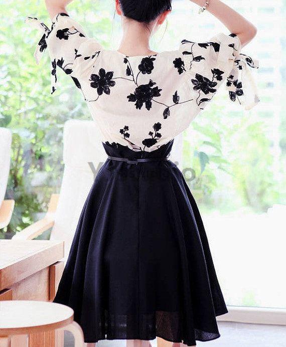 Blouse plus Dress, Korean Style Women Chiffon Suit, Buy One Get TWO, floral top, black dress, white blouse, trumpet design