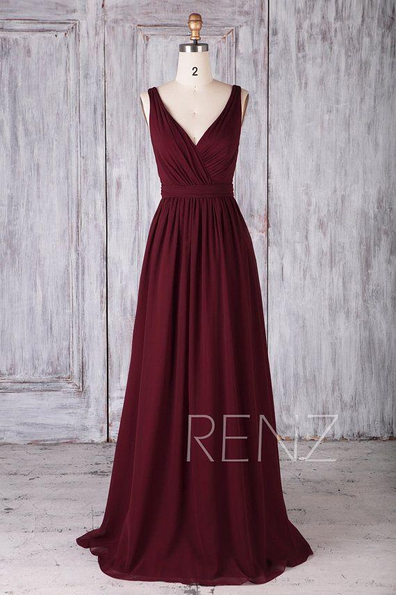 Brautjungfer Kleid Wein Chiffon Kleid, Hochzeitskleid, Doppel Träger Maxikleid mit Schärpe, geraffte V-Ausschnitt Abendkleid, Open Back Abendkleid (H506B)