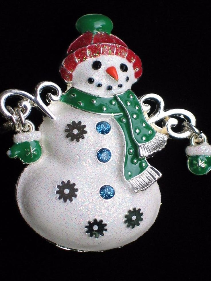 """SILVER MITTENS GLOVES FAT HAPPY SNOW LADY SNOWMAN PIN BROOCH JEWELRY DANGLES 2"""" #Unbranded"""