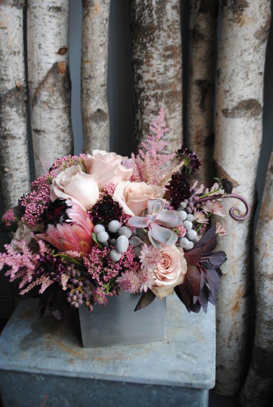 Protea, Quicksand, Succulents, Astilbe, Fiddlehead, Brunia and Smokebush by Sullivan Owen