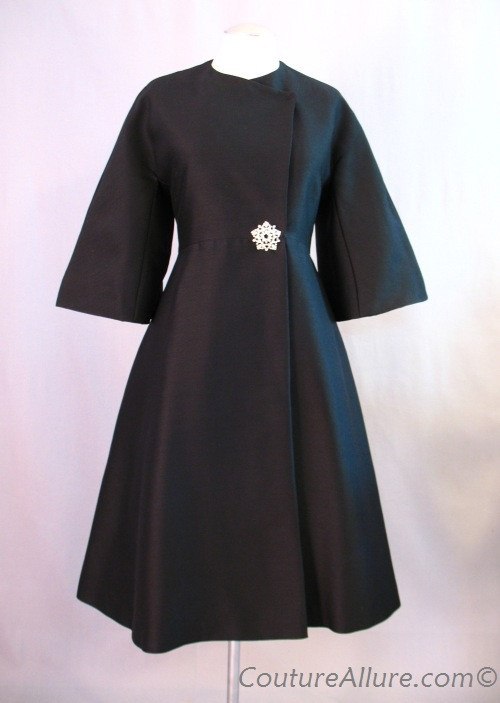 Vintage 60's black silk cocktail coat