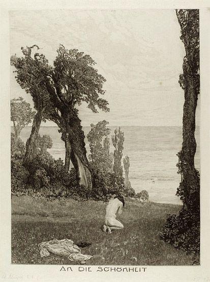 An die Schönheit; Vom Tode Zweiter Teil by Max Klinger, etching, 1890