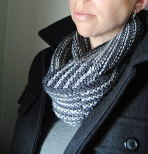 C Y C L O N E - Cowl design by Lisa Mutch -  Pairing garter stitch with a unique broken striping pattern makes this cowl fully reversible and very cozy. Quick and easy to knit, it might take you longer to choose which colours to use. http://www.ravelry.com/patterns/library/cyclone