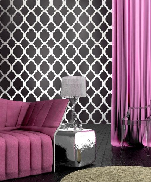 Stencil Rabat wallpaper stencil, love this idea for tables or dressers as well