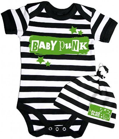 body bebe original rock avec bonnet de naissance : body bebe punk rock