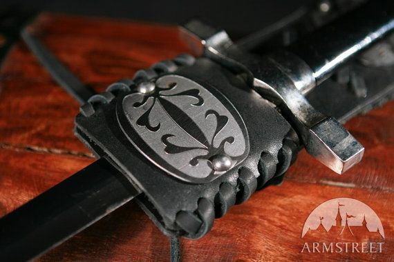 Functional Small Leather Sword Frog with Etched by armstreet $29