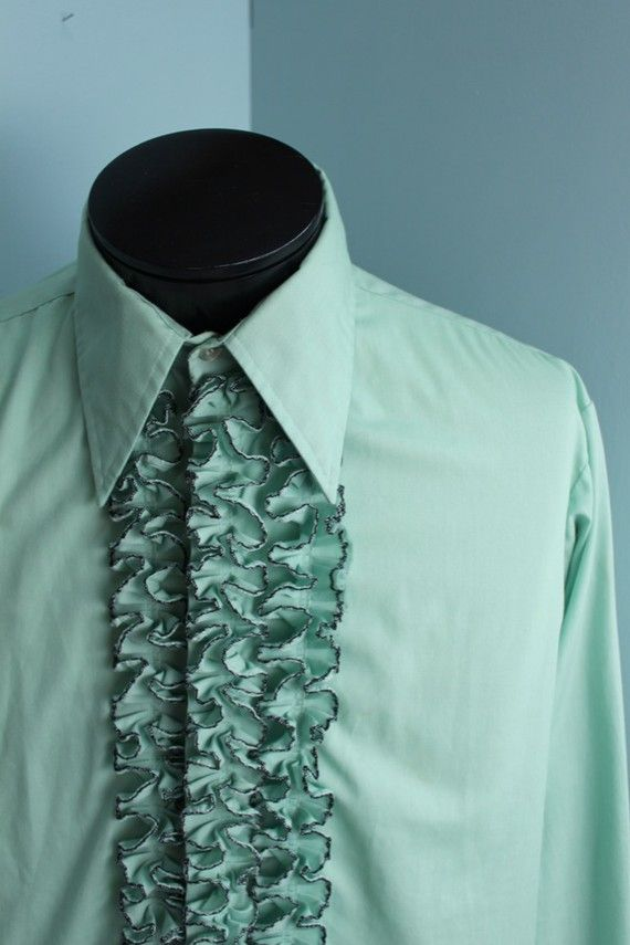 d65ca58f2 Vintage 1970 s Green Ruffled Tuxedo Prom Shirt Men s XL