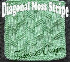 knit children washcloth free pattern | Tricotine Boutique: Diagonal Moss Stripe Washcloth Knitting Pattern