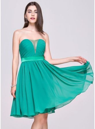A-Line/Princess Sweetheart Knee-Length Chiffon Charmeuse Homecoming Dress With Ruffle http://bit.ly/1e4q9ID