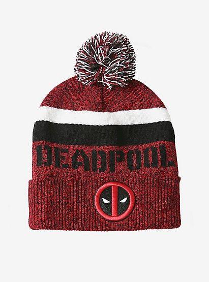 058400657ff Marvel Deadpool Pom Watchman BeanieMarvel Deadpool Pom Watchman Beanie
