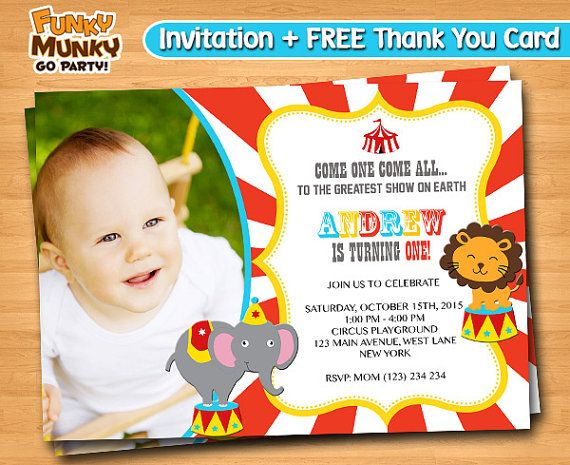Circus Carnaval Birthday Invitation  Vintage by funkymunkygoparty