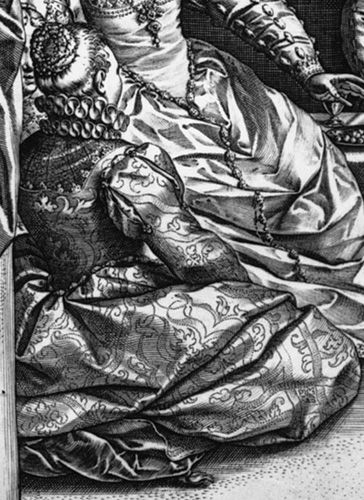 """Goltzius engraving, """"The Venetian Ball"""" from 1584 (but based on the Barendsz drawing which depicts costumes from the 1550s or early 1560s)."""