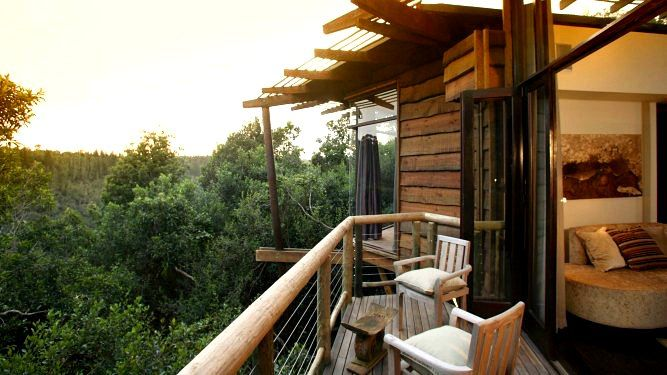 Tsala Treetops, Garden Route - SOUTH AFRICA. Tsala Treetop Lodge offers privacy, luxury and romantic views, while still being within easy reach of beach festivities at Plettenberg Bay and other seaside villages.
