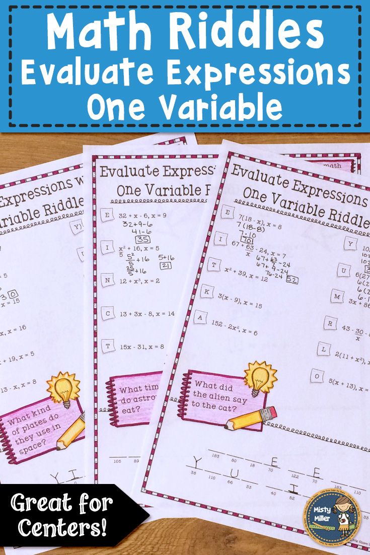 Students Can Practice Evaluating Expressions With One Variable In This Math Packet They Solve The Expressio Evaluating Expressions Expressions Activities Math [ 1102 x 735 Pixel ]
