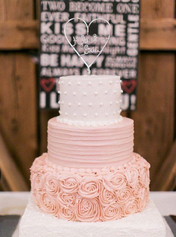 rustic blush pink weddding cake ideas