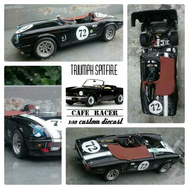 Triumph Spitfire cafe racer. A customized diecast 1:18.  Based on a model by Sunstar.
