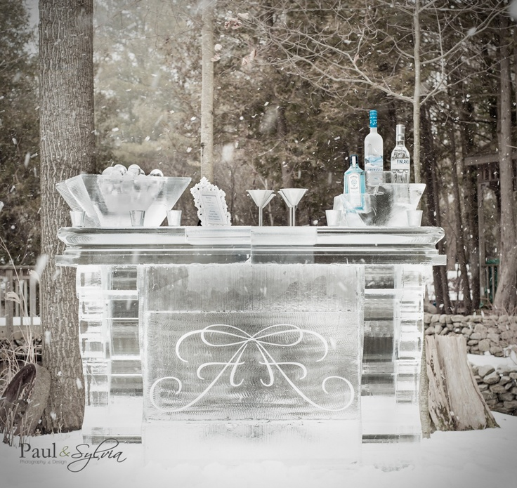 ice bar for winter wedding  in winter snow storm in Muskoka