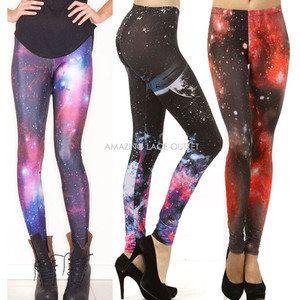 Galaxy Leggings Space Lightning Thunder Cosmic Print Fashion Tights Trend Pants