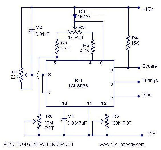 A simple function generator circuit with diagram and schematics using ICL8038, which is a pulse generator IC which generates waveforms of sine,square,sawtooth,triangular and pulse.