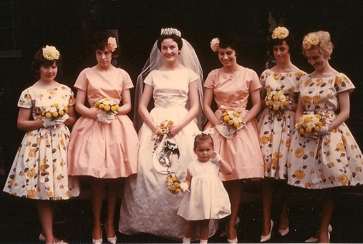 1961 Lovely Bride and Bridesmaids....  All the dresses were made by the Bride...