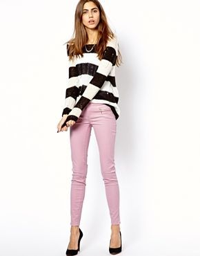 9 Stylish Ways to Wear Pastel Jeans: Pastel Jeans and Black and White Stripes
