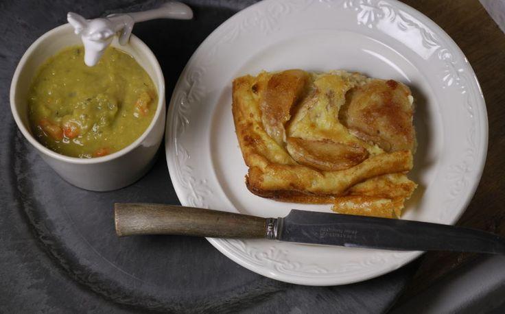 Eerst Koken: Vegetarische erwtensoep met mosterd en appelpannenkoek