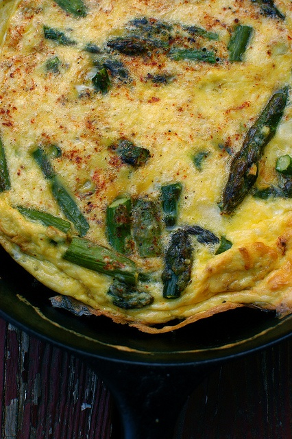 Roasted Asparagus Frittata - Ingredients - 1 bunch fresh asparagus  - 2 tablespoons olive oil  - Kosher salt and cracked black pepper  - 7 eggs  - 1/2 cup grated Mizithra (or a milder cheese like Parmesan works fine too)  - 1 teaspoon smoked paprika ____by shauna | glutenfreegirl, via Flickr