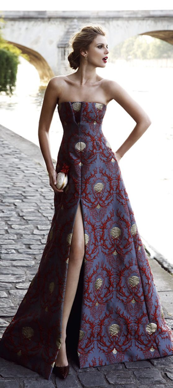 Valentino gorgeous patterned gown / Pinned by Dauphine Magazine x Castlefield - Curated by Castlefield Bridal Company & Branding Atelier and delivering the ultimate experience for the haute couture connoisseur! Visit www.dauphinemagazine.com, @dauphinemagazine on Instagram, and @dauphinemag on Pinterest • Visit Castlefield: www.castlefield.co and @castlefieldco on Instagram / Luxury, fashion, weddings and bridal style, décor, travel, art, design, interiors, architecture, jewelry, stationery
