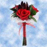 (QB) Nosegay Red Rose Greenery Filler 8 [Include Flower Food]