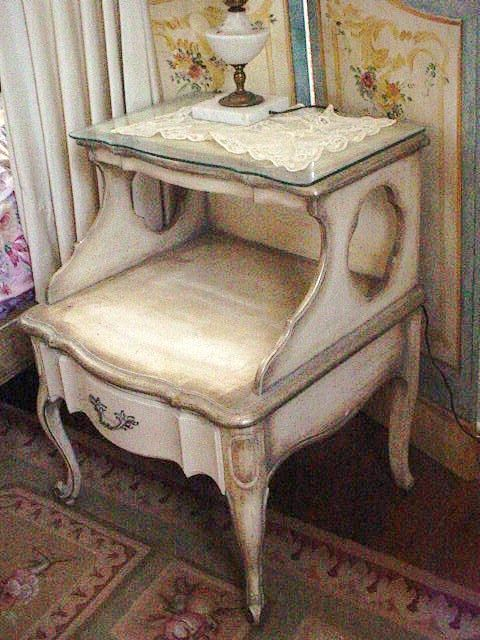 vintage french provincial nightstand table original paint shabby chic cottage furniture provencial via