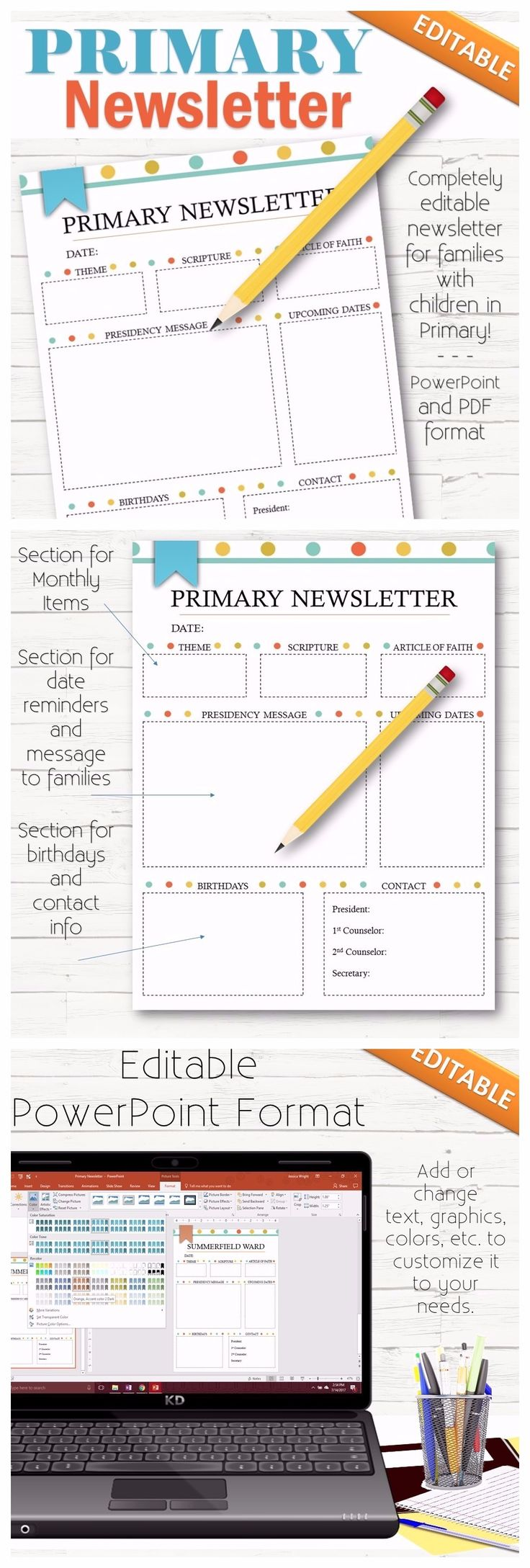 """A simple and cute way to get activity dates, times, events, and information to families with children in Primary, the Bishopric and leaders! This comes in a PDF format and completely editable PowerPoint format. You can change the fonts, colors, graphics, sizing, headers, titles, content, etc! Formatted to fit a 8.5""""x11"""" page."""