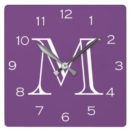 Monogram White Numbers On Purple Wall Clock  $29.95  by TrendsandTrinkets  - cyo customize personalize diy idea